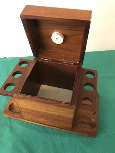 Decatur Industries Inc. Walnut Pipe Stand & Humidor, Vintage, Tobacciana, 6 Pipe Rack,Mid Century, Collectible Man Cave Decor, Desk Top Gift by Sunshineoftreasures on Etsy