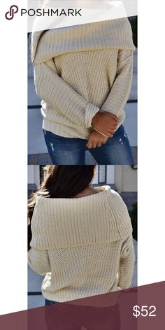 48ffa7f8eb8 Beige Fold Over Sweater BEST selling style! Cozy Beige Knit sweater with  fold over off
