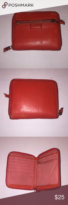 Coach Wallet Coach wallet, pre loved in okay condition, Wallet is still very sturdy no tears, zipper pulls are a bit torn see pictures! Wallet has a lot of life left to it! Coach Bags Wallets