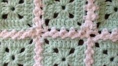 joining granny squares cable - YouTube