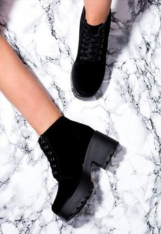 Hothead Lace Up Cleated Sole Platform Block Heel Ankle Boots Shoes - Black Suede Style Sock Shoes, Cute Shoes, Shoe Boots, Block Heel Ankle Boots, Black Ankle Boots, Platform Block Heels, Chunky Boots, Fashion Shoes, Fall Fashion