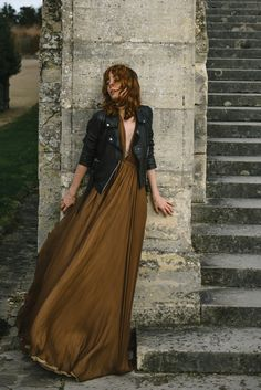 vintage brown maxi dress and Topshop leather biker jacket