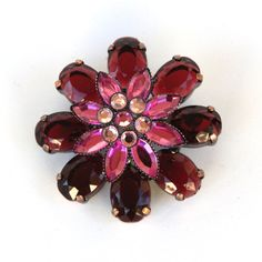 Pink and red rhinestone flower brooch by VintageJewelryMagic on Etsy