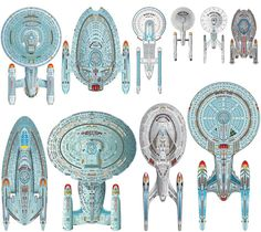Size comparison of various types of Federation Starships