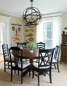 Miss-Match Chairs in same color at a Victorian-Coastal Home.