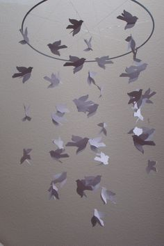 White Light and Flowing Bird Baby Mobile. $55.00, via Etsy.