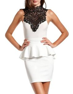 White peplum black lace charlotte russe dress