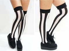 B&W Vertical Striped Pastel Goth Thigh high Stockings/ Socks  One Size fits all