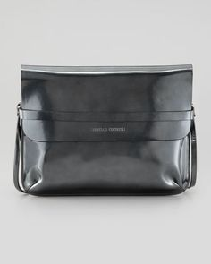 Spazzolato+Crossbody+Bag%2C+Metallic+Gray+by+Brunello+Cucinelli+at+Bergdorf+Goodman.