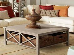 "baskets under ""Hampton"" U-finish it square coffee table"
