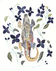 Alligator and Clematis Archival Print от unitedthread на Etsy