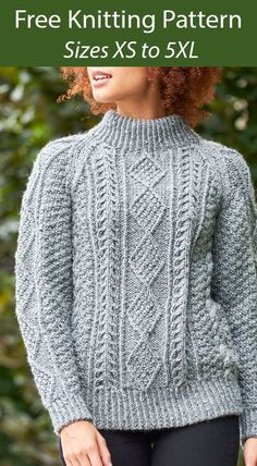 Free Knitting Pattern for Boyfriend's Cable Sweater - Long-sleeved pullover with a mock turtleneck and an interesting cablework including diamond cables and other textures. Knit flat. Sizes XS to 5XL. Designed by Gayle Bunn for Yarnspirations. Bulky weight yarn. Jumper Knitting Pattern, Sweater Patterns, Free Knitting Patterns For Women, Quick Knits, Sweater Design, Cable Knit Sweaters, Knitting Machine, Knitting Stitches, Sweaters For Women