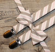 Pink & Grey diagonal stripe little boy bow tie & suspenders by The Baxter Boy