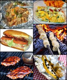 Outdoor camping meals and recipes complete with lists for: Cookware and equipment, chuck box supplies, camp food groceries lists for one to six campers, recipes and prep instructions, and camping notes and tips.