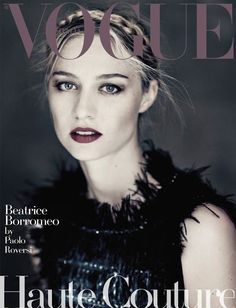 Beatrice Borromeo in Haute Couture dresses take on the cover of Vogue Italy Magazine September 2015 issue by fashion photographer Paolo Roversi.