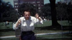 1954: Dad swinging in city playground showing off for his son. http://www.pond5.com/stock-footage/58084773?ref=StockFilm keywords:dad, swing, park, ride, play, boy, son, brothers, sunglasses, white, shirt, public, green, summer, sunshine, shadows, 1954, 1950s, 8mm, film, old, tv, commercial, past, home movie, vintage, retro, rare, unique, archive, nostalgia, sentimental, memories, throwback, Americana, documentary, editorial, historic, preserve, restore, reality, classic, priceless…
