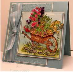 This card made by Deborah Saaranen is using the Flowers topper stamp.  This artist is a very talented lady and I I was on her web site for hours!