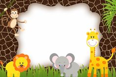 Risultati immagini per invitaciones de safari Safari Party, Jungle Theme Parties, Jungle Theme Birthday, Jungle Party, Safari Theme, Animal Birthday, Baby Birthday, Baby Shower Themes, Baby Boy Shower