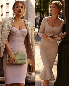 Moda Woow 😍 1 or 2 ? Elegant Outfit, Elegant Dresses, Cute Dresses, Beautiful Dresses, Formal Dresses, Dress Skirt, Dress Up, Bodycon Dress, Classy Outfits