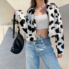 Fur Coats For Women Cow Print Teddy Jacket Zipper Casual Coat Female Hipster Outfits, Cow Outfits, Casual Outfits, Fashion Outfits, Fashion Trends, Punk Fashion, Lolita Fashion, Fashion Details, Fashion Bloggers