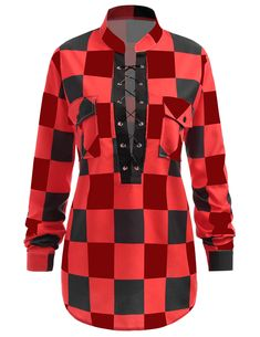 535fd6944e3 Plus Size Lace-up Plaid Check Long Sleeve Blouse