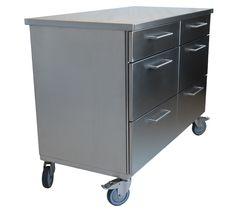 En rostfri köksö, flyttbar då den är på hjul och kan flyttas ditt man behöva arbetsyta.   www.neonela-kitchen.se