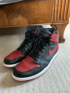 size 40 699a8 cabb4 Nike Air Jordan Retro 1 High Og Banned Bred 2016 Size 14 100% Authentic With