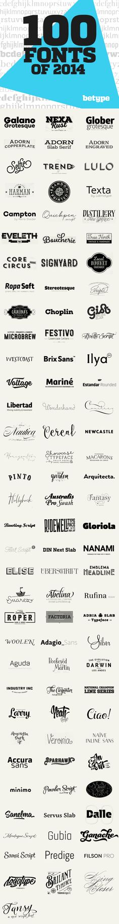 100 Best Fonts of 2014. Links at the bottom of the website