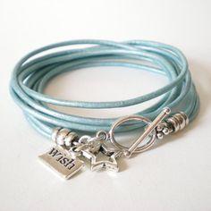 wish upon a star leather wrap bracelet star charm by jcudesigns, £12.00