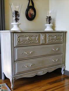 The Ashlee, dresser that was rescued and refinished in Annie Sloan Paris Grey with clear and dark wax.