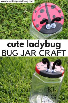 Make this adorable ladybug craft with your kids. Recycle an empty glass jar into a cute ladybug craft that makes it easy to observe nature. This easy nature inspired craft is that perfect nature craft to do with kids to help them learn more about bugs and the world around them. #ladybugcrafts #kidscrafts #bugjar #recycledcrafts Painting Crafts For Kids, Easy Crafts For Kids, Crafts To Make, Simple Crafts, Ladybug Crafts, Glass Jars With Lids, Recycled Crafts, Recycled Materials, Dollar Store Crafts