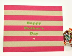 striped mother's day card printed on kraft stock (cards/notes)