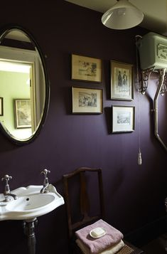Dark purple bathroom with Brinjal by Farrow & Ball