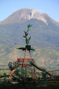 The playground was created by artist Kublai Millan and overlooks Mt. Apo which is the tallest volcano in the Philippines.