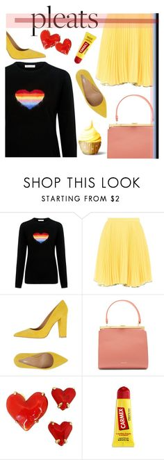 """""""pleats & cupcakes"""" by paperdollsq ❤ liked on Polyvore featuring Bella Freud, Boutique Moschino, Broccoli, Mansur Gavriel, Givenchy, Carmex, yellow, Pumps, Jumpers and pleats"""