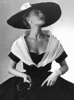 Ghislaine Arsac in Dior - 1956. I would love to wear a hat like this even once.