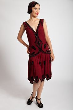 1920s Style Dresses, Flapper Dresses KÄTHE BEADED DRESS IN SUMPTUOUS RED