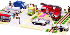 Mini City Vehicles And Characters Diorama - by Paper Museum  --          Kids will love all these easy-to-build paper vehicles, acessories and characters. By Japanese site Paper Museum.