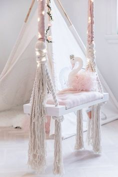 Beautiful Wooden Baby Swing Our beautiful handmade knitted blanket was made to keep you cozy and warm even on the coldest of days. Bedroom Swing, Baby Bedroom, Baby Room Decor, Nursery Room, Girls Bedroom, Bedroom Decor, Room Baby, Girl Decor, Baby Rooms