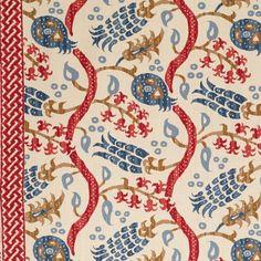 Nisiotiko Linen Print -- pomegranate/oxford blue