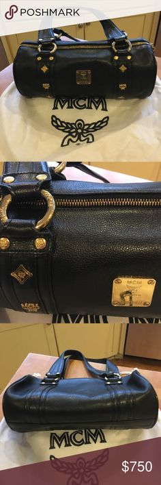 """NWT MCM Gold LOGO Black Pebbled Leather """"Satchel"""" NWT Is my Black Pebbled leather """"Speedy/Pouchette/Satchel"""" with GOLD MCM Logo EVERTHING! It has 2 top zippers and zips ALL the way down on both sides. Inside thee are 2 leather trim pouches and a zipper pocket as well as a red satin MCM logo lining. This ones a BEAUTY ladies!! Again, I'm into bags w shoulder straps these days but if I thought I'd use one without a strap, THIS would be IT! It comes in its MCM dustbag.Again as I've said before…"""