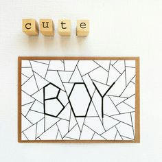 Geometric and unique: This card will congratulate the new parents in style! New Parents, Drawings, Unique, Quotes, Gifts, Etsy, Hands, Envelope, Save The Date Cards