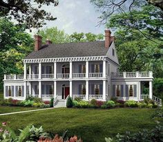 Dream home look!  Double walkout front porches, side porches, sun rooms with porches and walkout no roof patios!