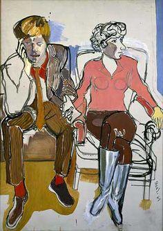 Red Grooms and Mimi Gross     Red Grooms and Mimi Gross, 1967.  Oil on Canvas. Alice Neel.