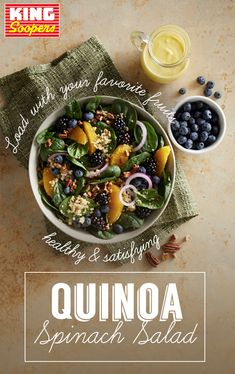 Gluten free, dairy free and ready in 25 minutes. Quinoa adds protein and fiber while oranges, blueberries and blackberries add a sweet, juicy bite to this fresh take on a spinach salad. Healthy Recipes Tips For Everyone Diet Recipes, Vegetarian Recipes, Chicken Recipes, Cooking Recipes, Healthy Recipes, Recipies, Quinoa Spinach, Spinach Salad Recipes, Quinoa Salad