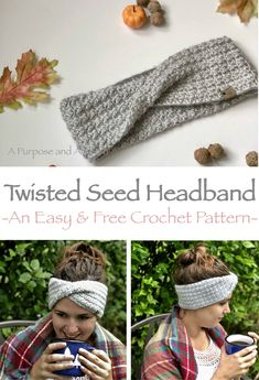 Crochet Diy Twisted Seed Headband- Free crochet pattern perfect for beginners and chili fall nights! - I'm going back to my roots with this Twisted Seed Headband. Similar to my first ever pattern on A Purpose and A Stitch, but with a whole new twist! Beau Crochet, Crochet Headband Free, Crochet Twist, Crochet Diy, Crochet Gratis, Crochet Amigurumi, Crochet Beanie, Crochet Fall, Knit Headband Pattern