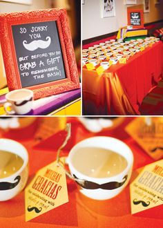 i love this fiesta engagement.  look at how cute those DIY mustache mug favors are....i wanna do a party like this!