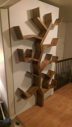 DIY tree bookshelf by sow's ear farm house design on facebook.