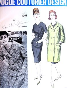 1960s CLASSY  Ronald Paterson Slim Dress and Coat Pattern VOGUE Couturier Design 1291 Double Breasted Dress and Coat Bust 32 Vintage Sewing Pattern