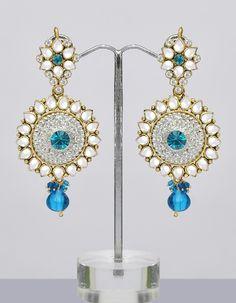 Blue Kundan Earrings